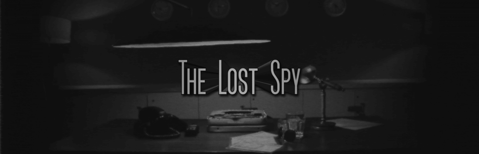 Lost Spy Game Banner displays game title text over a background of a desk with a typewriter, rotary phone and scattered papers.