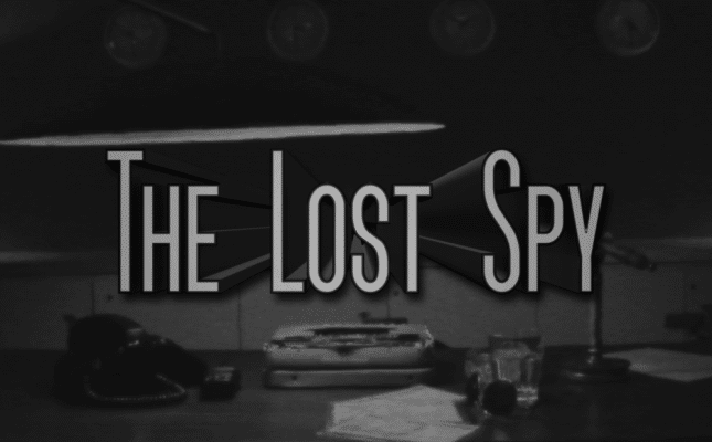Lost Spy Game Banner title, logo over a picture of a desk with rotary phone and papers scattered across it.