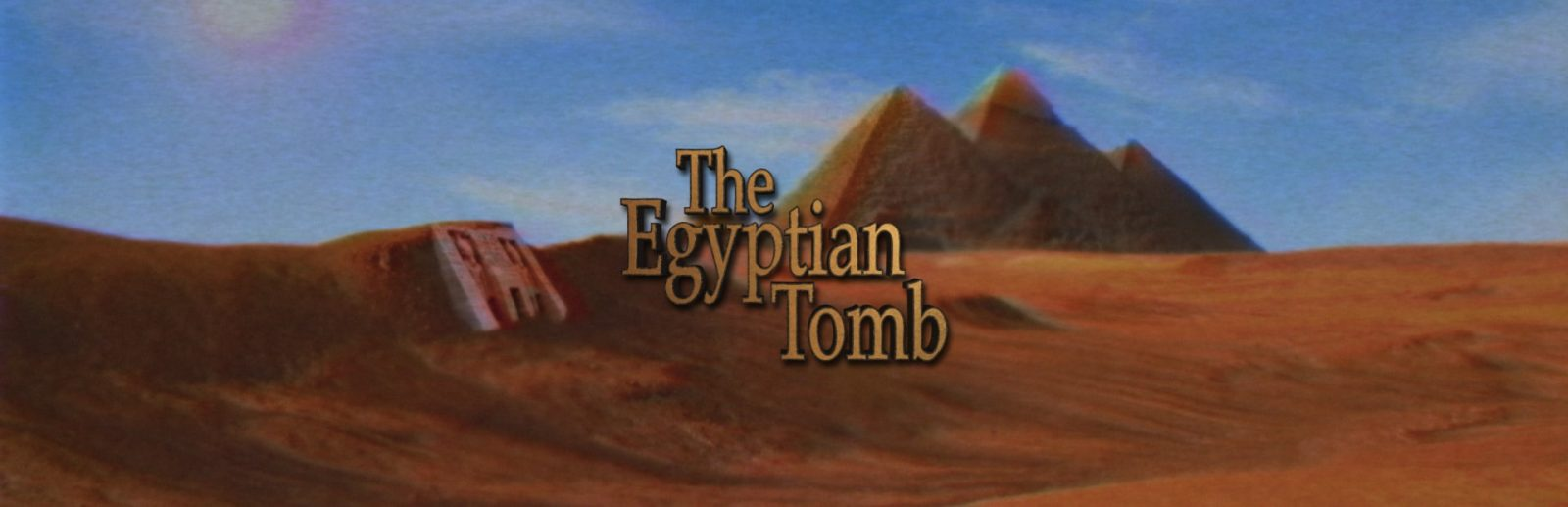 """Clue chase's egyptian tomb banner, the room title """"egyptian tomb"""" is displayed over a background of pyramids and desert"""