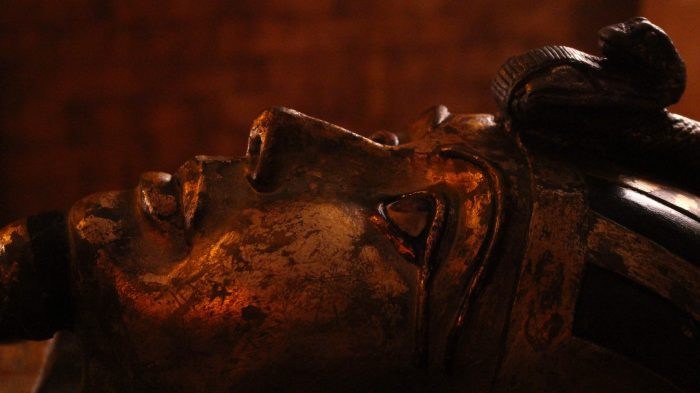 A closeup of the sarcophagus in the egyptian tomb escape room