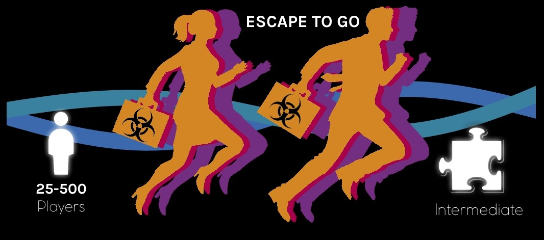 escape to go logo featuring the number of players (25-500) and difficulty (intermediate)