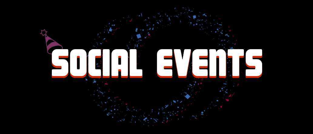 "social events banner - confetti forms our connection symbol and a party hat rests of the ""S"" of social."
