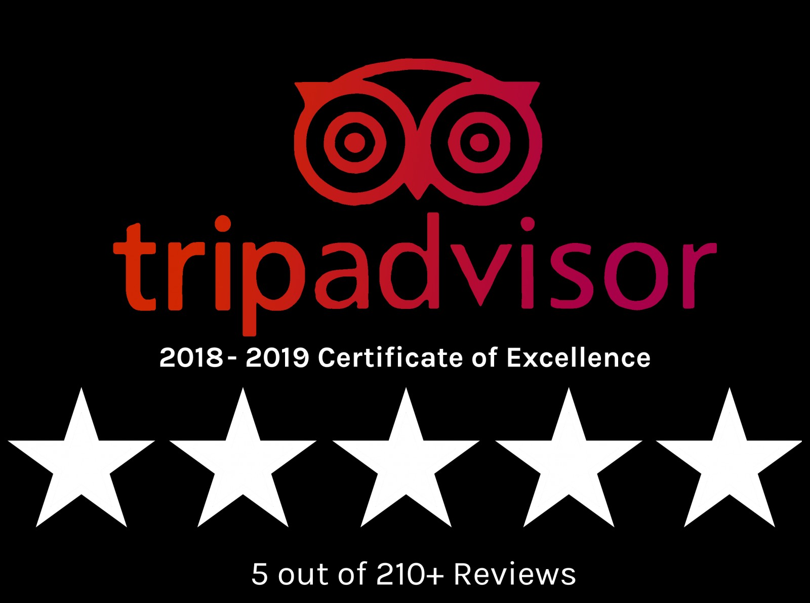 tripadvisor's logo displaying five stars from over 210 reviews