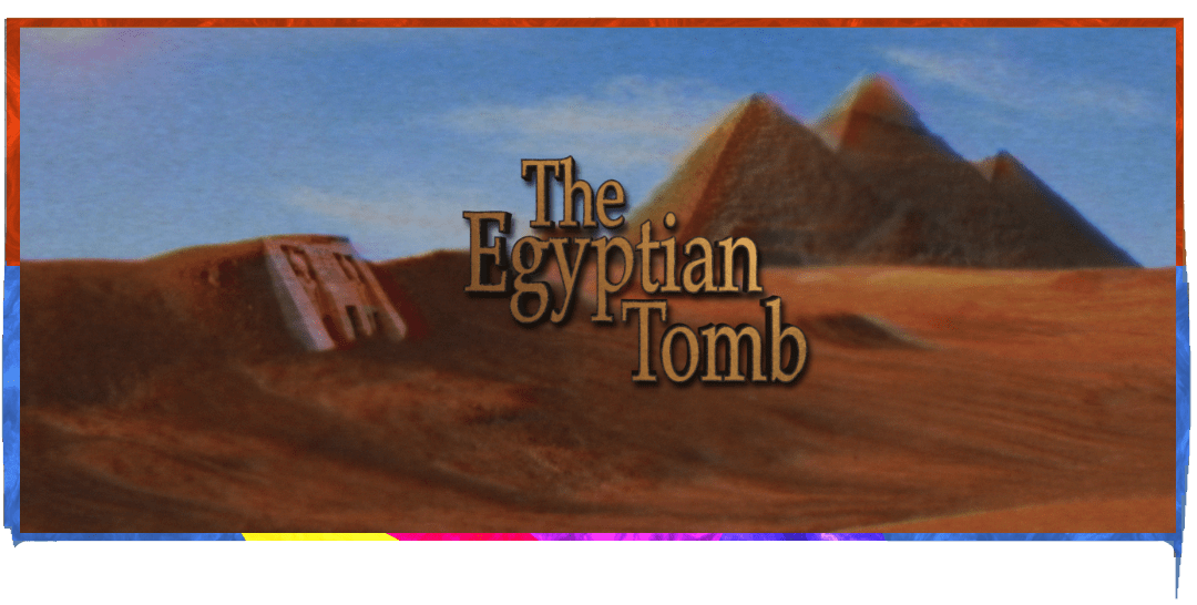 the Egyptian tomb logo in front of a background of Pyramids