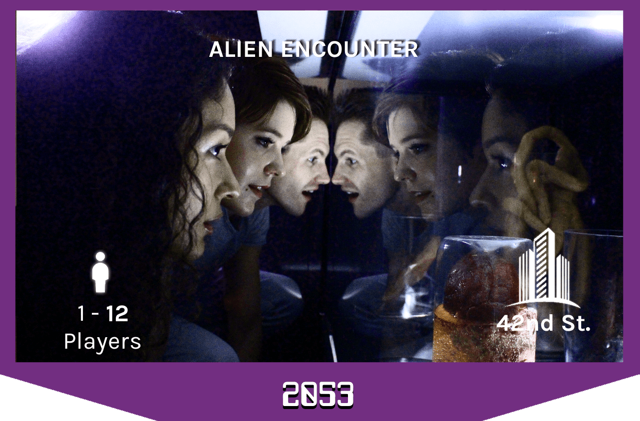 three players looking into a mysterious container on the alien spaceship, 1-12 players, 42nd street