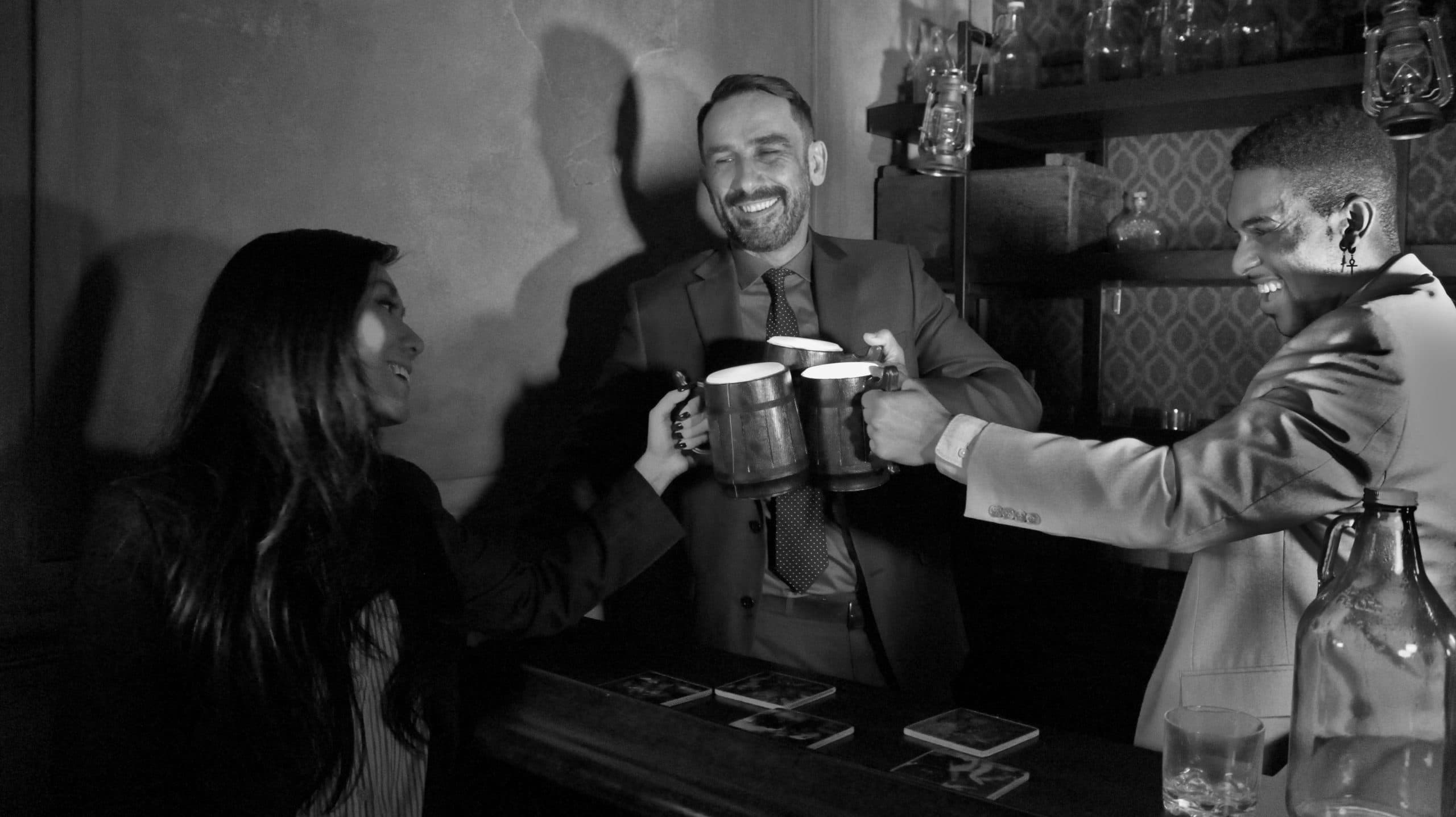 players celebrating a win in the 1920's escape room