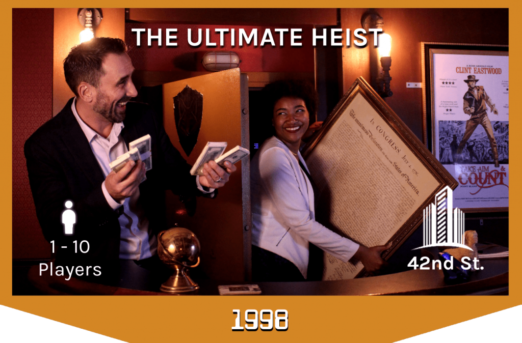 players holding loot in the ultimate heist escape room, 1-10 players, 42nd street