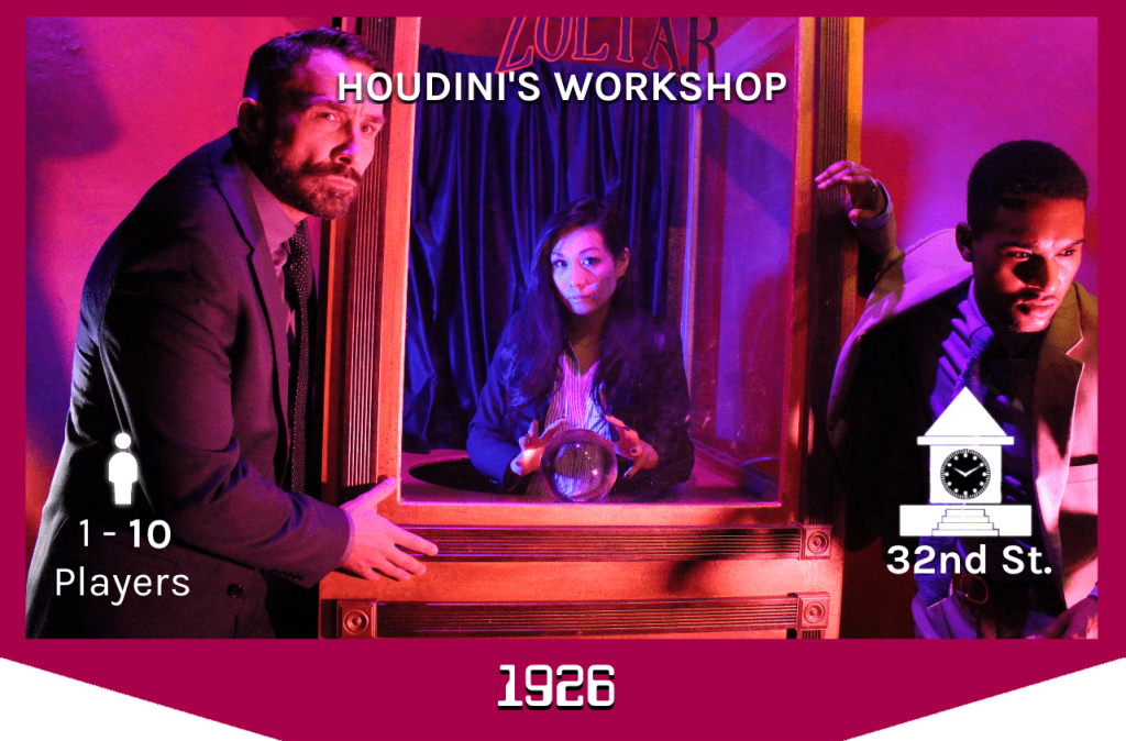 three players around the Zoltar box in Houdini's workshop, 1-10 players, 32nd street