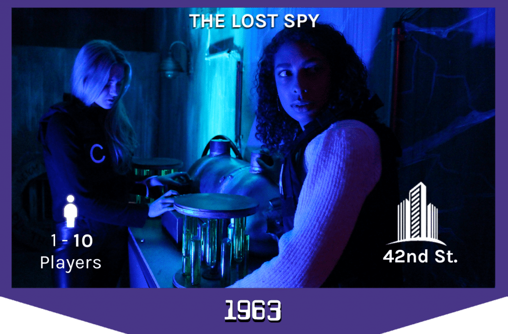 two players looking at the bomb in the spy escape room, 1-10 players, 42nd street.