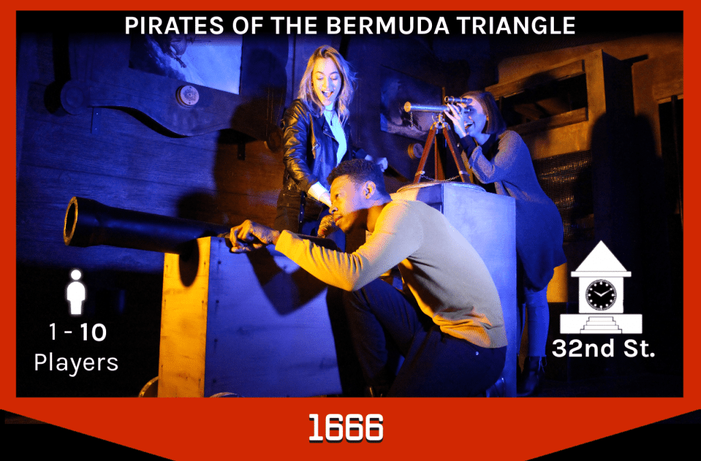 players using the cannon in the pirate ship escape room, 1-10 players, 32nd street