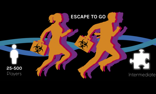 two people carrying briefcases and running with 25-500 players and intermediate difficulty for escape to go